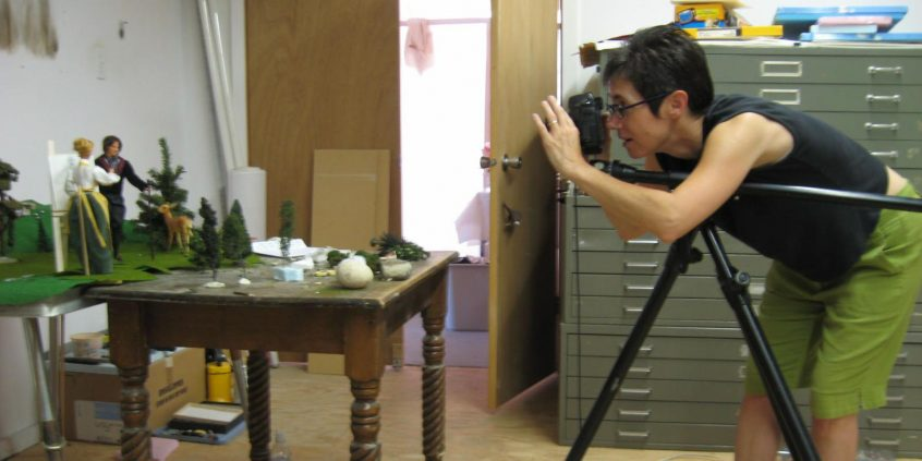 Diana Thorneycroft photographing a scene