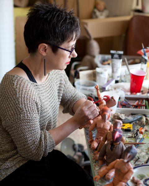 Diana working on the birdman
