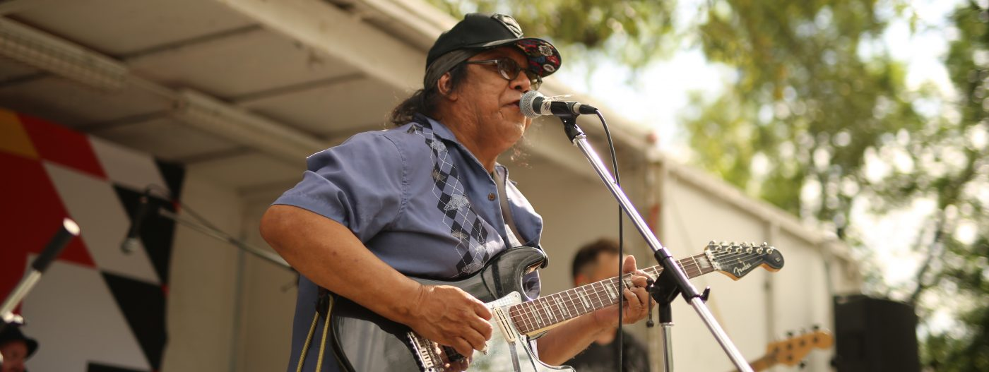 Billy Joe Green performing at the Austin Street Festival on August 2, 2019. Photo by Alan Greyeyes